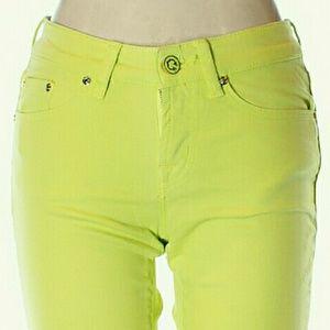 CWonder Skinny  Crop Neon  Green Demin Pants Jeans